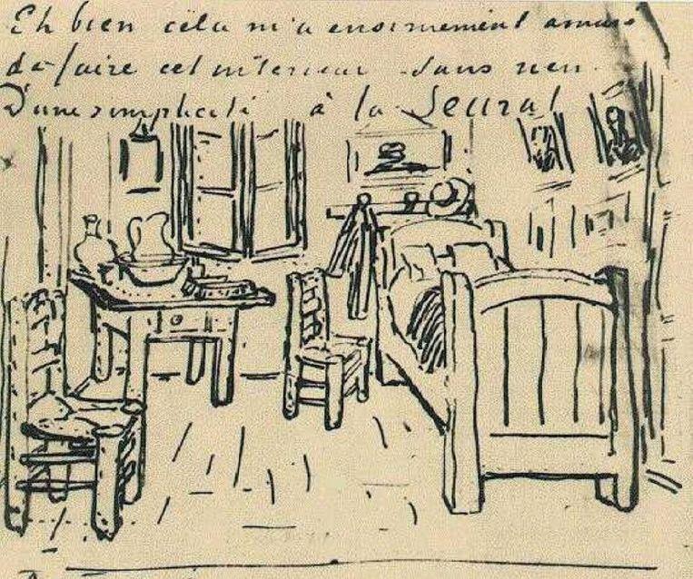 Van Gogh schetste zijn slaapkamer in een brief aan Paul Gauguin, een bevriend schilder. Beeld