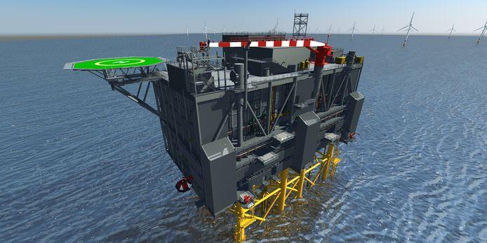 Het energieverdeelsysteem in de Noordzee, voor de kust van Groot-Britannië.