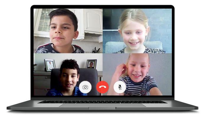 Videobellen met de kinderen uit groep 4 van De Triangel.