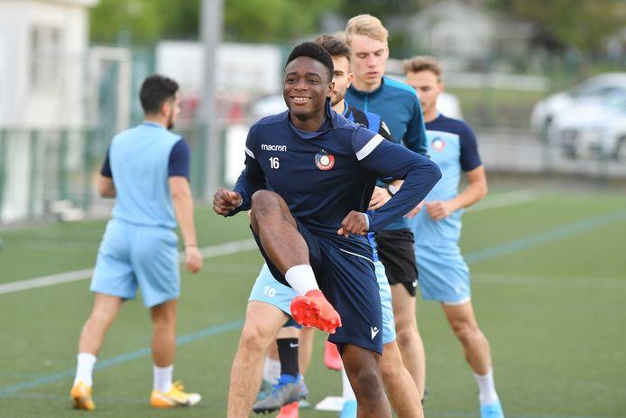 Sebastien Quansah had er alvast veel zin in op training.