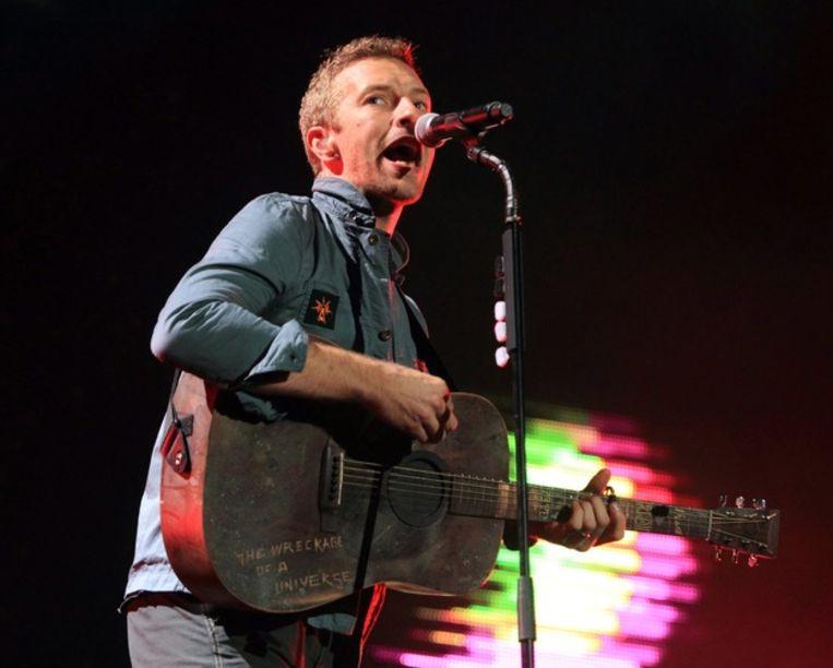Chris Martin, frontman van Coldplay, afgelopen weekend op 'Rock am Ring' in Duitsland. Beeld epa