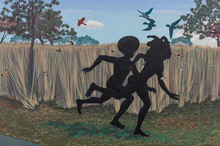 Vignette van Kerry James Marshall: De zwarte Adam en Eva die vluchten uit het paradijs. Beeld Collectie Centraal Museum