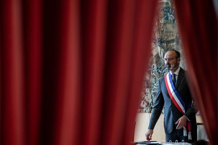 De Franse premier Edouard Philippe won zondag de gemeenteraadsverkiezingen in zijn stad Le Havre en kiest mogelijk voor een fulltime job als burgemeester van de havenstad.   Beeld EPA