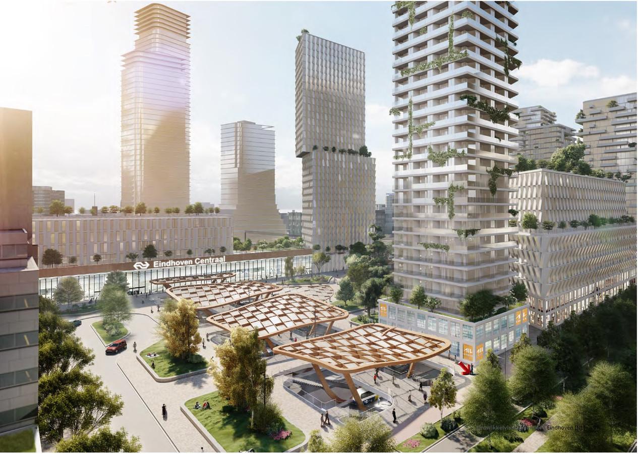 Een illustratie uit de Ontwikkelvisie Fellenoord/KnoopXL in Eindhoven. Zo u zou het nieuwe ondergrondse busstation Neckerspoel aan de Fellenoord eruit kunnen komen te zien.