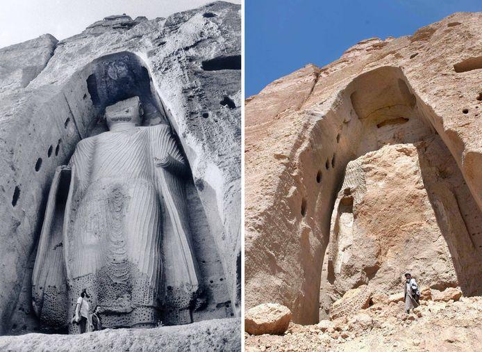 Une des statues de Bouddha à Bamiyan sur une photo de 1977 (à gauche) et ce qu'il en reste après l'explosion.