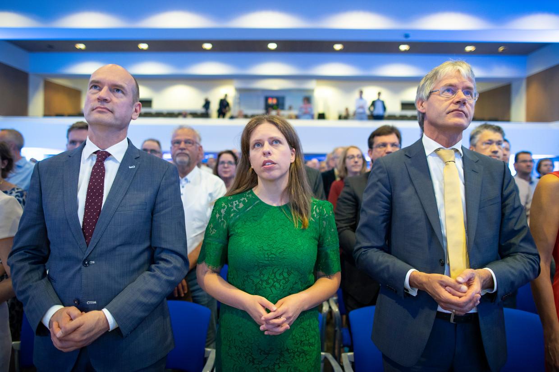 Gert-Jan Segers, Carola Schouten en Arie Slob tijdens een partijcongres van de ChristenUnie.