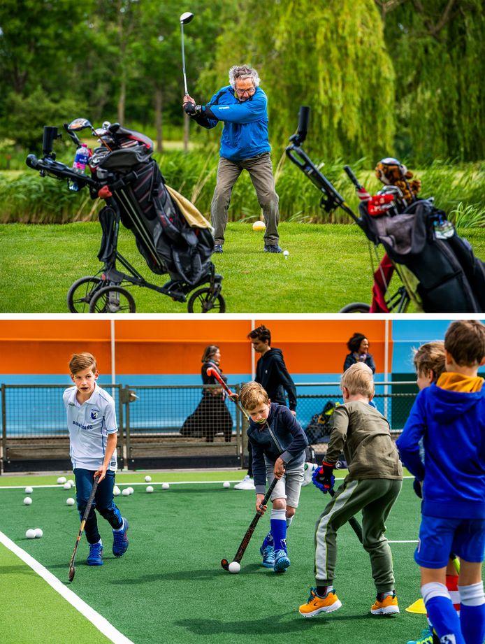 Golfbaan Hitland en jeugdtraining bij hockeyclub Leonidas.