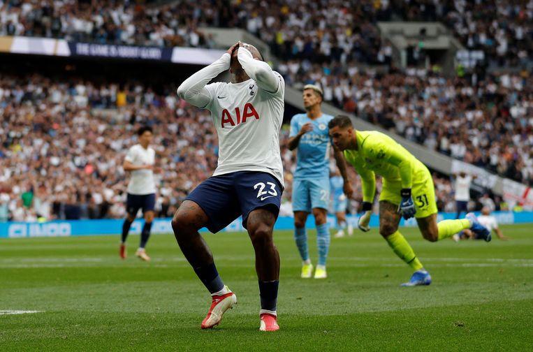 Ondanks een misser van Steven Bergwijn wist Tottenham Hotspur in een spectaculair duel van Manchester City te winnen. Beeld AFP