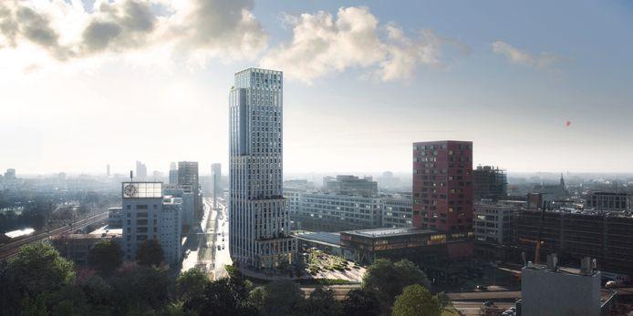 De nieuwe, nog te bouwen, woontoren 'Niko' aan de Beukenlaan op Strijp-S in Eindhoven.