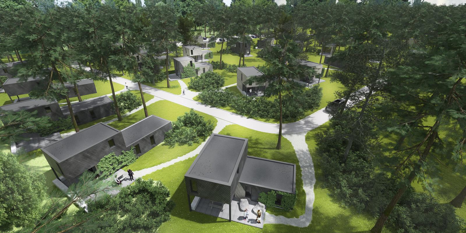 Impressie van hoe de nieuwe huisjes op Park Roompot in Schaijk er straks uit komen te zien