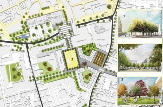 Koningskwartier met 1. nieuw bomenplein Piusstraat, 2. het centrale plein, 3. binnenhof bij nieuwe woningbouw. Ook ingetekend: de twee nieuwe complexen van Amvest en TBV Wonen.