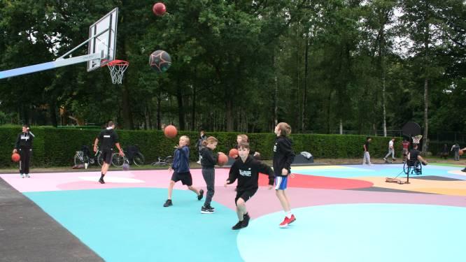 Oli B tovert basketbalveld Bospark om tot knap staaltje straatkunst
