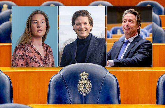 Drie Zwolse politici met een realistische kans op een Kamerzetel. Nicole Temmink (SP, 13), Thom van Campen (VVD, 16) en Edgar Mulder (PVV, 15).