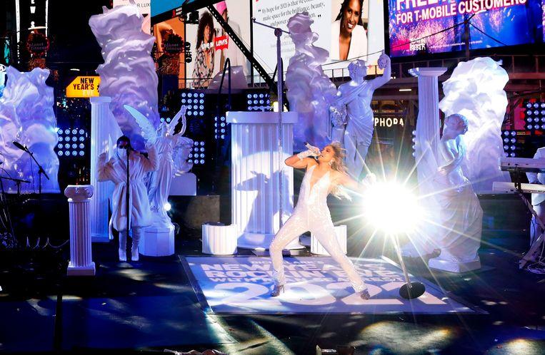 Jennifer Lopez gaf een show op Times Square om het nieuwe jaar in te luiden. Beeld AFP