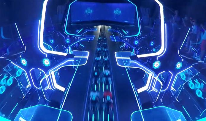 Videostill van de nieuw te bouwen futuristische achtbaan.