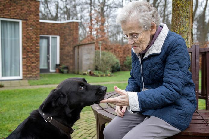 Hond Laska troost de bewoners van Boswijk als ze verdrietig zijn.