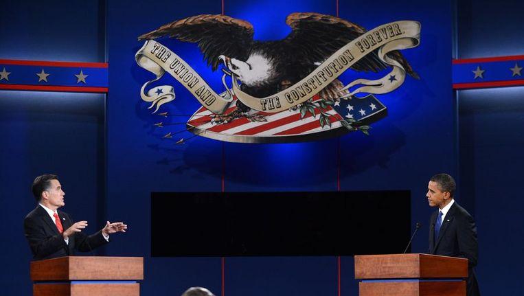Het debat tussen Barack Obama en Mitt Romney. Beeld AFP