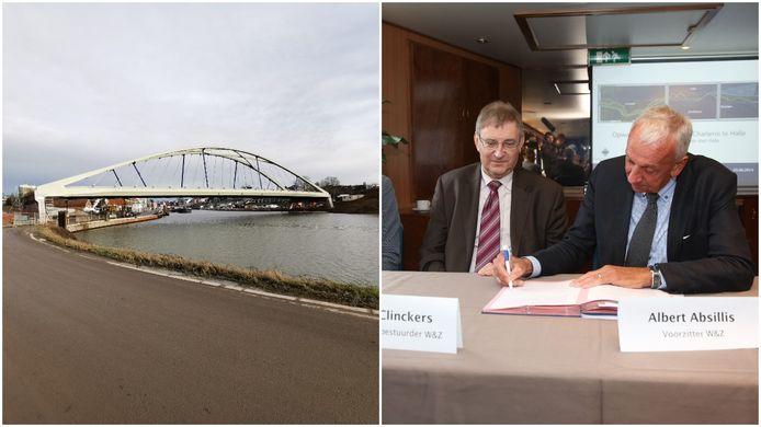 Links de Zuidbrug in Halle die verder afgewerkt wordt en rechts zetten de bestuurders van (toen nog) Waterwegen en Zeekanaal in 2014 hun handtekening onder een protocolovereenkomst over de modernisering van het Kanaal Brussel-Charleroi in Halle.