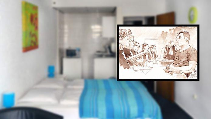 De kamer in de desbetreffende hotelkamer en een rechtbanktekening van de regiezitting van verdachte Armin A. (R)