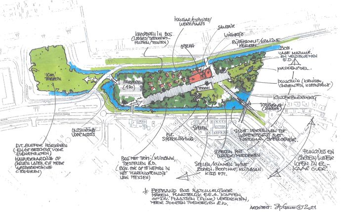 De 'Praatplaat' van architect Sjaak Goud voor terrein waar nu kinderboerderij Hansweert is. Verkenning van themapark en recreatie.