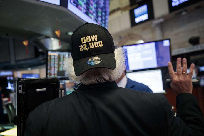 Aandelenhandelaren droegen speciale petjes voor de gelegenheid.
