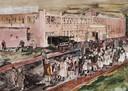 Door een Engelse officier geschilderde impressie van de erbarmelijke opvang in Reusel van Nederlanders die van heulen met de vijand verdacht werden. Ook Gérard en Riet Kuijpers zaten daarbij.