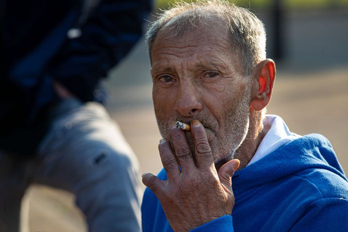 De 69-jarige Roemeense zwerver Bacco, die sinds vorige week wordt opgevangen in Swifterbant.