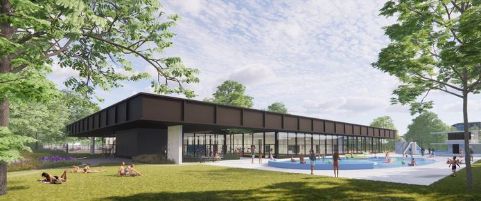 Een beeld van het nieuwe zwembadcomplex op het Diekman.