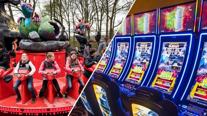 Holland Casino Enschede (rechts) en pretpark Hellendoorn (links openen beide weer de deuren voor een dag