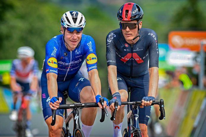 Fabio Jakobsen en Dylan van Baarle tijdens de Dauphiné eerder dit jaar.