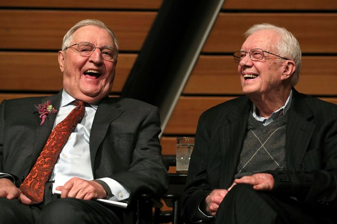 Walter Mondale en Jimmy Carter in 2018.
