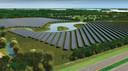 Impressie van het zonnepark op de plek waar nu de 18-holes golfbaan ligt van Golf4All in Zeewolde. Het zonnepark wordt geëxploiteerd door het Deense bedrijf Obton.