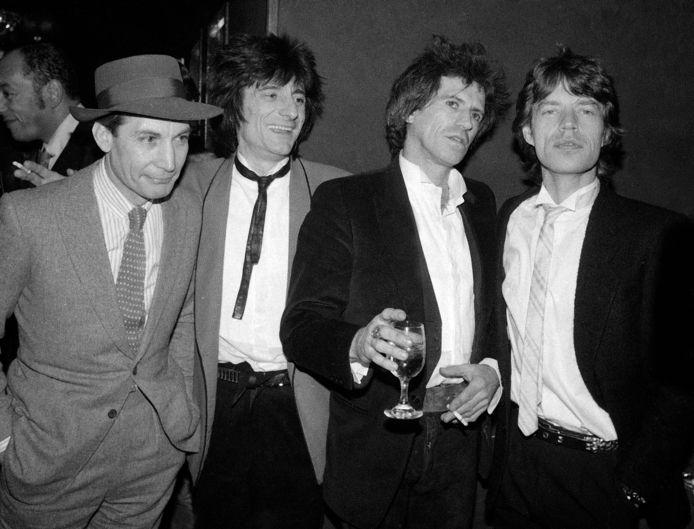 De band tijdens een premièrefeestje van hun film 'Let's Spend The Night Together' in New York in 1983. Van links naar rechts: Charlie Watts, Ron Wood, Keith Richards en Mick Jagger.