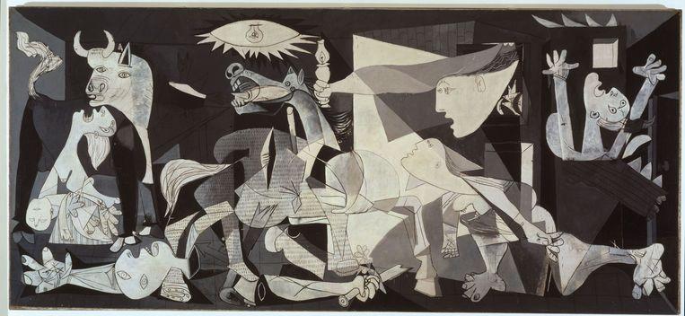 Dora Maar onthult in de expo dat ze op 'Guernica' van Picasso staat. Ze blijkt de meest rechtse figuur te zijn, met de armen in de lucht.  Beeld RV