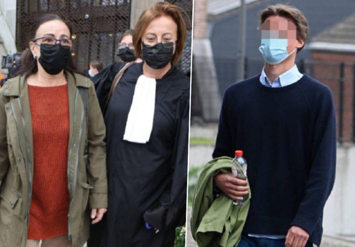 Links: de mama van Sanda Dia met haar advocaat. Rechts: een van de Reuzegommers die terechtstaat.
