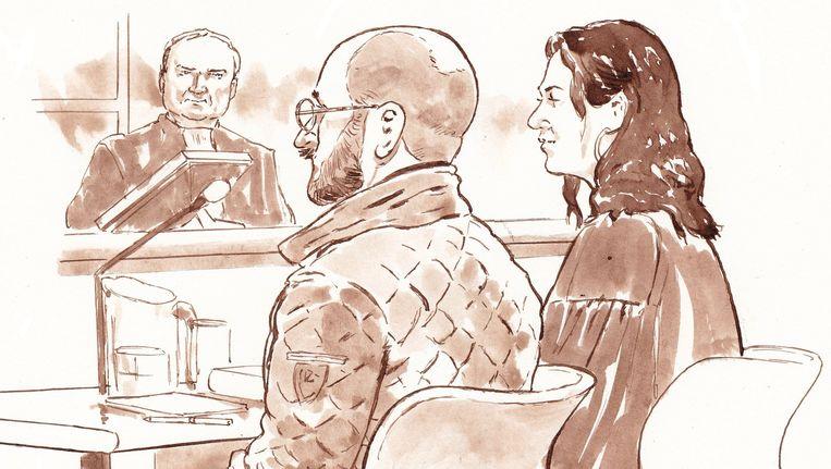 Rechtbanktekening van Bart van U. en zijn advocaat Mr. Noëlle Pieterse Beeld ANP