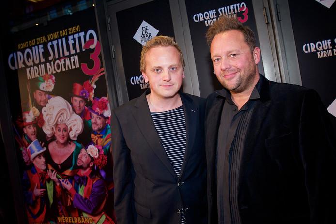 Richard Groenendijk met zijn partner Marco tijdens de première van Cirque Stiletto 3.