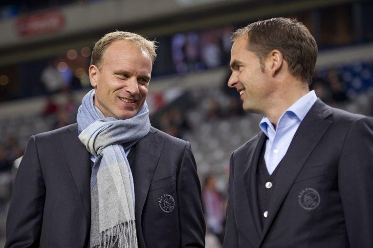 Technisch hart-leden Dennis Bergkamp en Frank de Boer: met de gebakken peren. Beeld PRO SHOTS