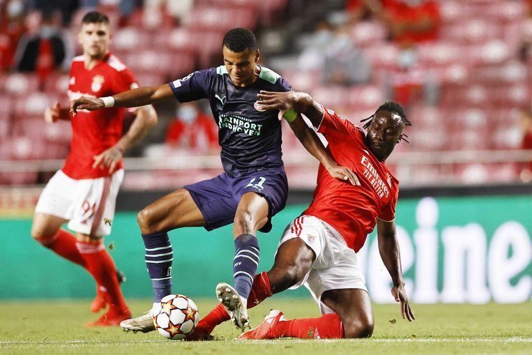 Gakpo in actie tegen Benfica. Beeld ANP