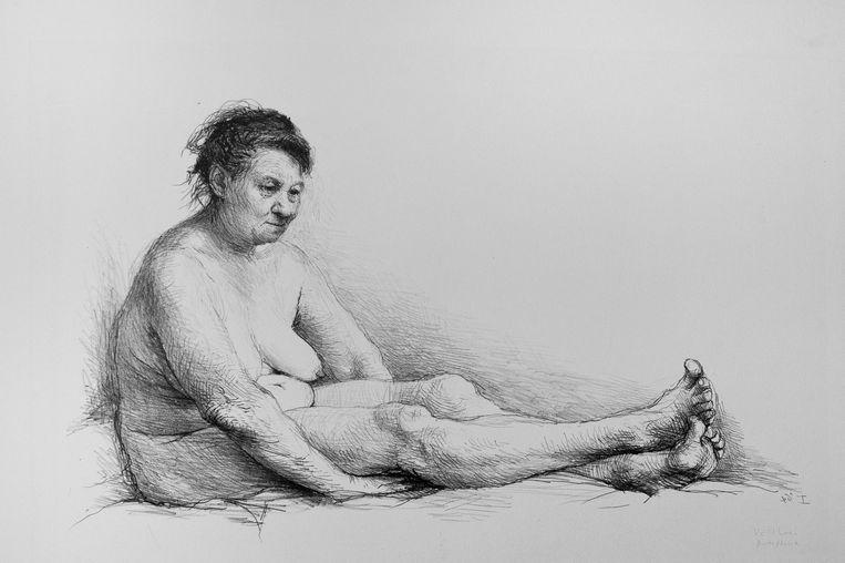 Mevrouw Vlek, een prent van Aat Veldhoen. Beeld Aat Veldhoen