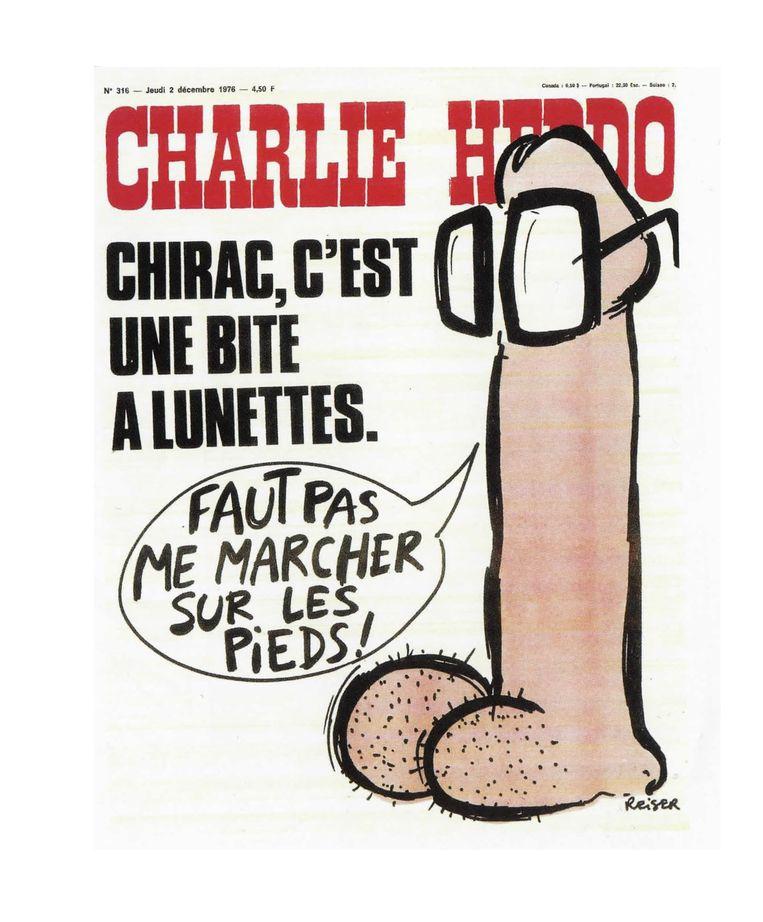 Deze cover van het Franse blad Charlie Hebdo mocht niet worden getoond op een expositie in Duitsland. Beeld