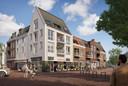 Een artist-impression van het toekomstig Brinkhuis met supermarkt, cafetaria en gezondheidscentrum.
