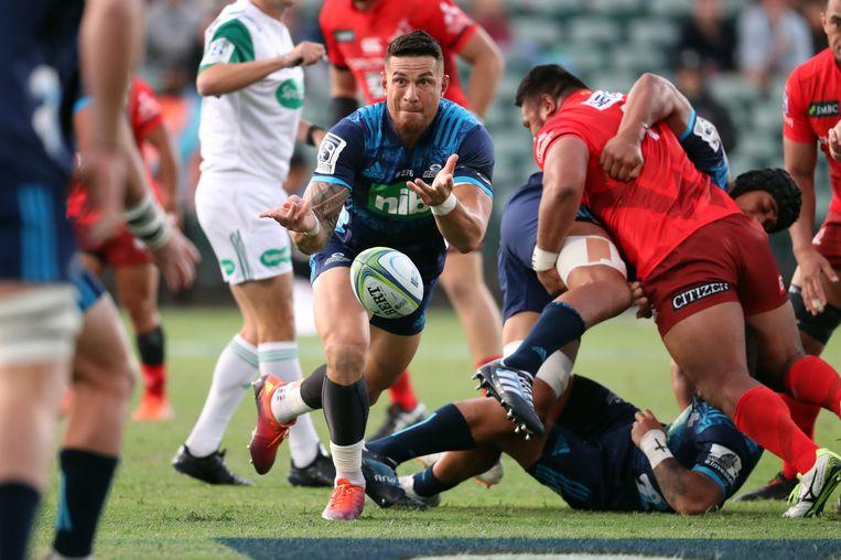 De bekendste moslim van Nieuw-Zeeland, rugbyspeler Sonny Bill Williams, vorig weekend tijdens een wedstrijd van zijn team Blues in het stadion van Auckland.  Beeld AFP