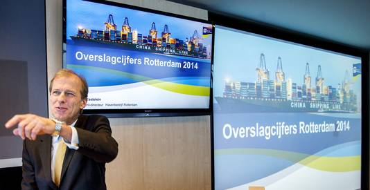 President-directeur van het Havenbedrijf Rotterdam Allard Castelein gisteren bij de presentatie van de definitieve overslagcijfers van de Rotterdamse haven