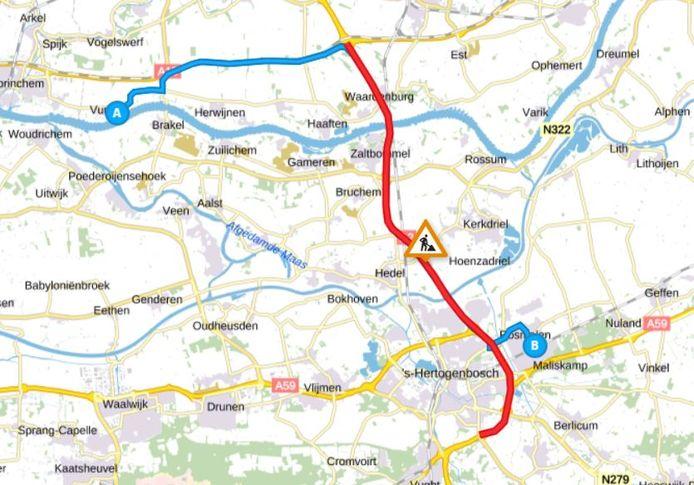 Een voorbeeld van een route die last heeft van de stremming van de A2: van Vuren naar Rosmalen voor een voetbalwedstrijd op zaterdagochtend.