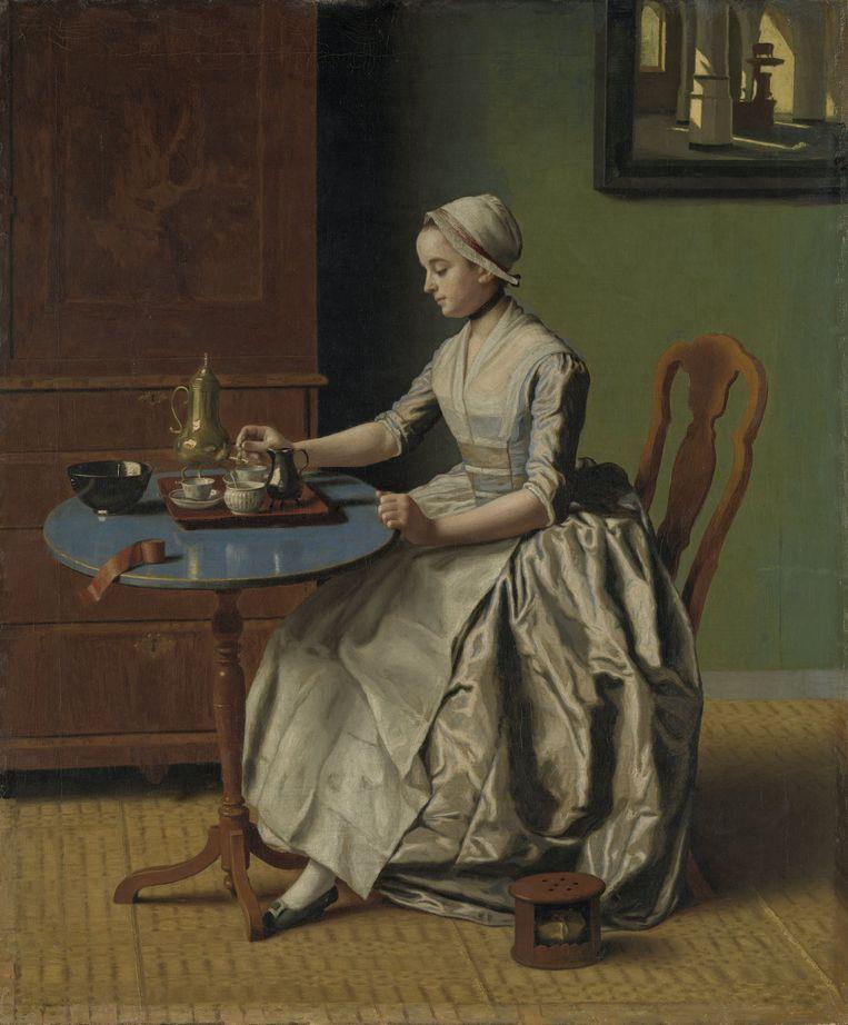 Jean-Etienne Liotard, Hollands meisje aan het ontbijt, circa 1756.  Beeld Rijksmuseum