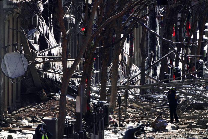 Schade in Nashville na de explosie.