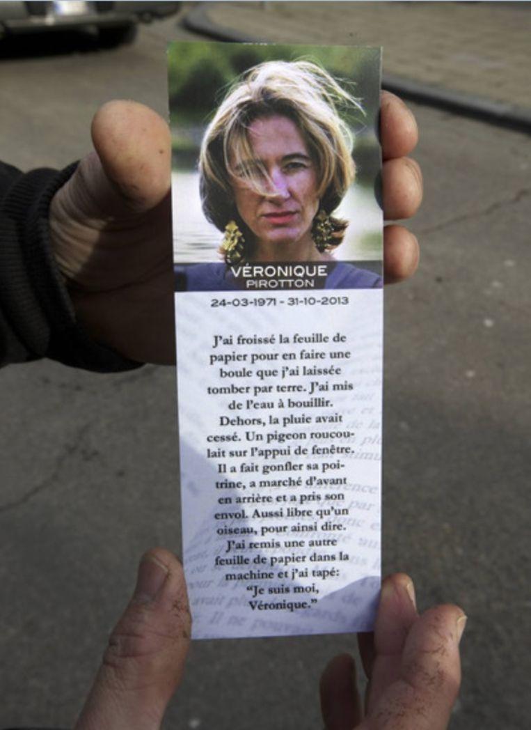Het doodsprentje van Véronique Pirotton.