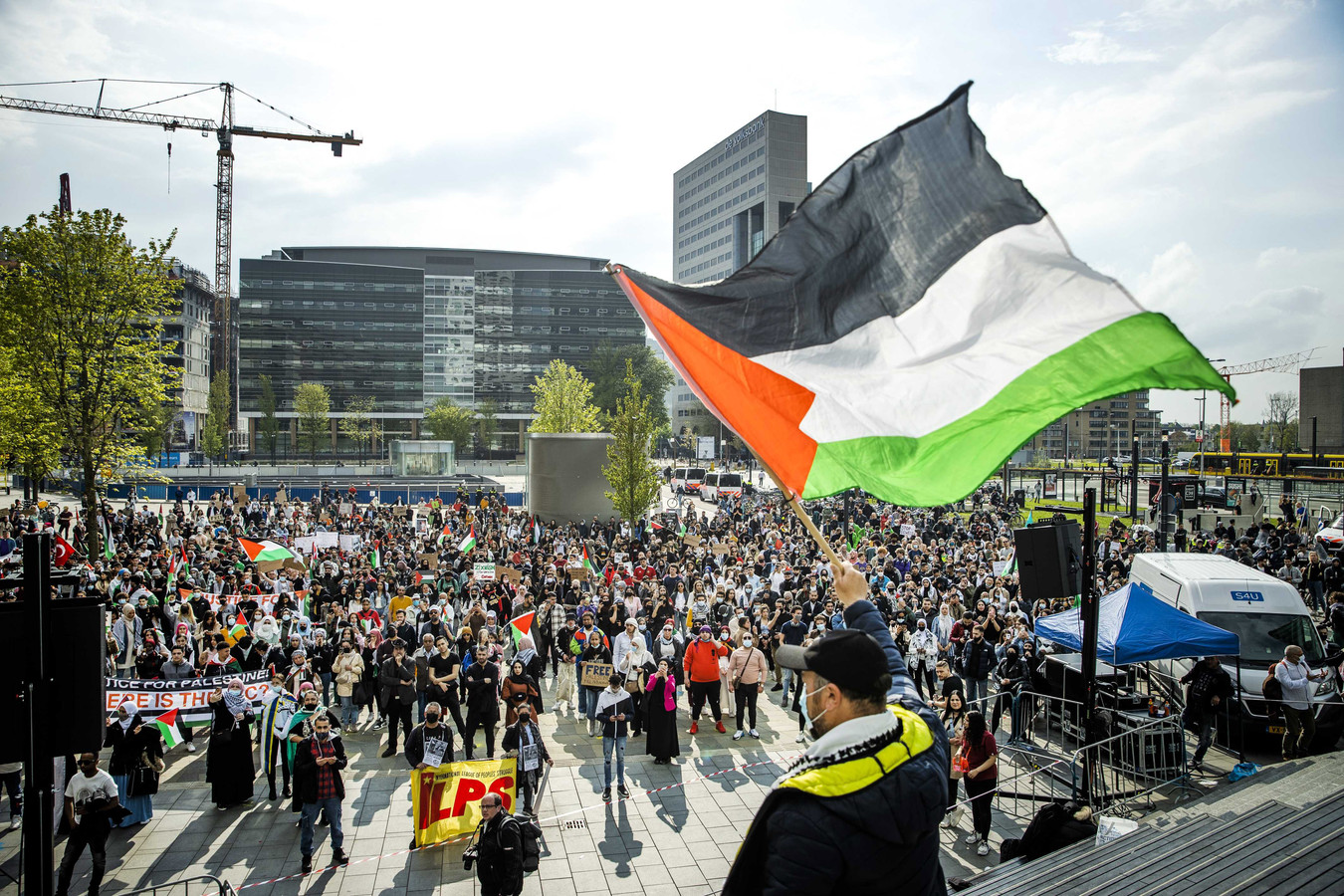 Pro-Palestina demonstratie in Utrecht op vrijdagavond.