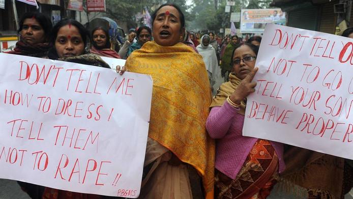 Indiase activisten demonstreren op 8 januari tegen het seksuele geweld.